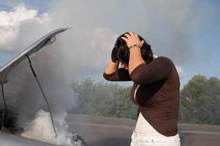Car Overheating Woman Freaking Out